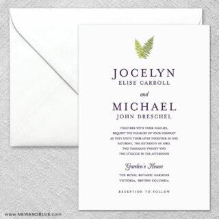 Garden Fern 2 Invitation And Envelope