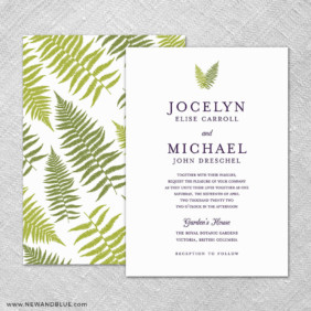 Garden Fern 4 Invitation Shown With Back Printing