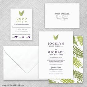 Garden Fern 5 Wedding Invitation And Rsvp Card