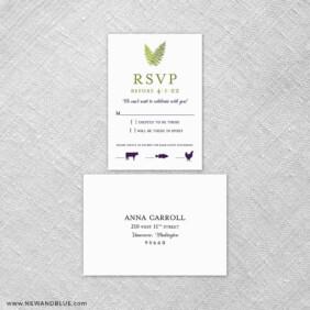 Garden Fern 6 Reception Card And Rsvp Card
