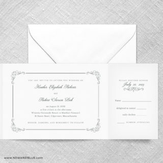 Genoa All In One Wedding Invitation With RSVP Postcard