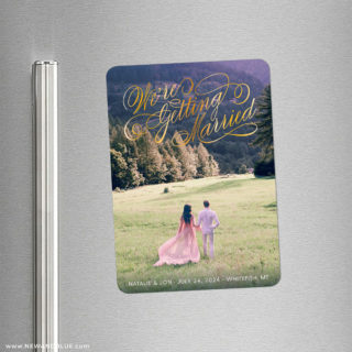Getting Married 2 Foil Save The Date Refrigerator Magnet