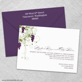 Grapevine 3 Invitation And Color Envelope