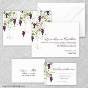 Grapevine 5 Wedding Invitation And Rsvp Card