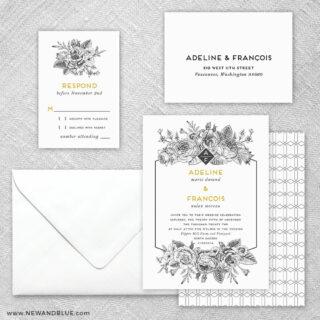 Harlow 5 Wedding Invitation And Rsvp Card
