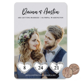 Heart Trio 1 Scratch Off Save The Date Magnet