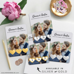 Heart Trio 4 Scratch Off Wedding Magnet
