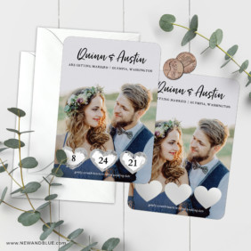 Heart Trio Scratch Off Save The Date Magnets 15
