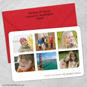 Holiday Collage 5 Save The Date With Optional Color Envelope