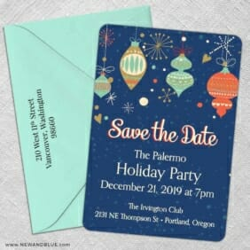 Holiday Merriment 5 Save The Date With Optional Color Envelope