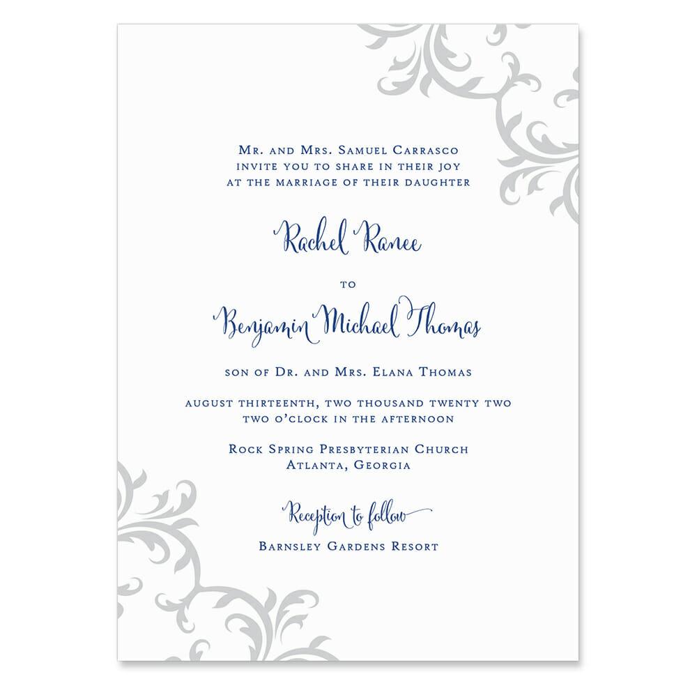 Isabella Invitation Shown In Color Blue