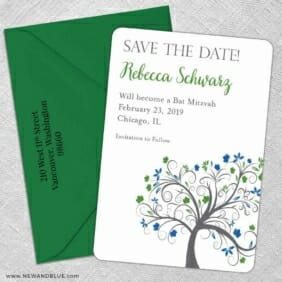 Jerusalem Bat Mitzvah 5 Save The Date With Optional Color Envelope