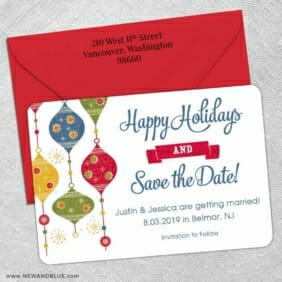 Jingle Bells 5 Save The Date With Optional Color Envelope