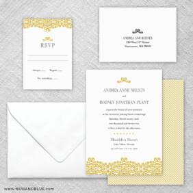 Juliet 5 Wedding Invitation And Rsvp Card
