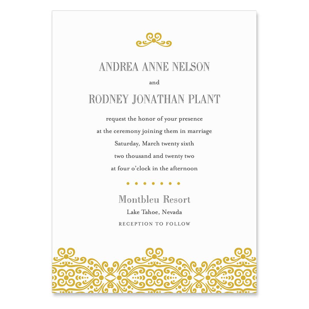 Juliet Invitation Shown In Color Gold