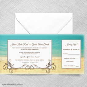 Kona All In One Wedding Invitation With RSVP Postcard