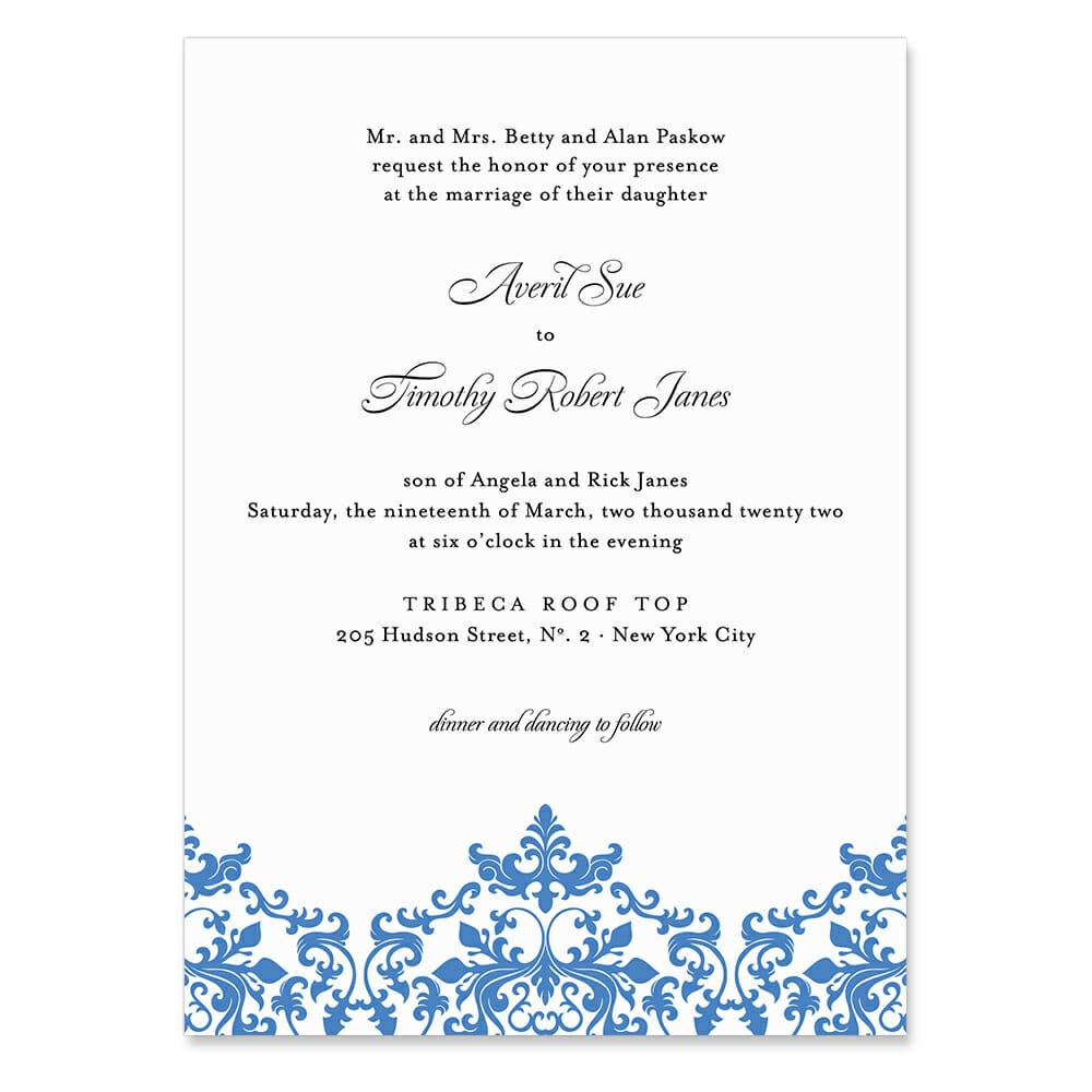 Laughter Invitation Shown In Color Blue