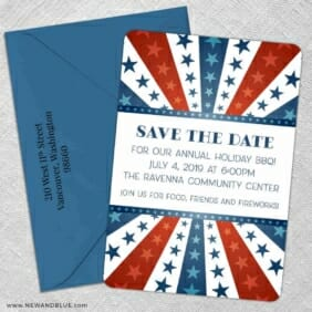 Liberty Party 5 Save The Date With Optional Color Envelope