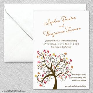 Lovely Leaves 2 Invitation And Envelope