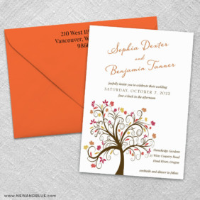 Lovely Leaves 3 Invitation And Color Envelope