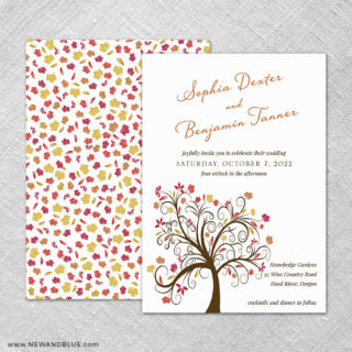 Lovely Leaves 4 Invitation Shown With Back Printing