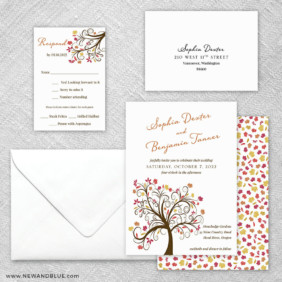 Lovely Leaves 5 Wedding Invitation And Rsvp Card