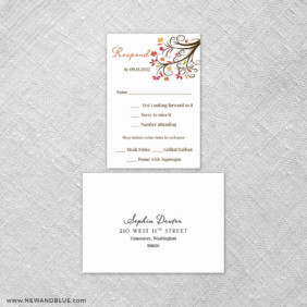 Lovely Leaves 6 Reception Card And Rsvp Card