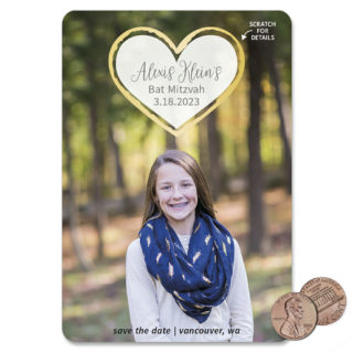 Lovestruck Bat Mitzvah 1 Scratch Off Save The Date Magnet