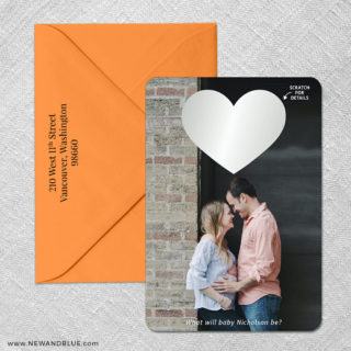 Lovestruck Gender Reveal 4 Scratch Off Save The Date With Optional Color Envelope