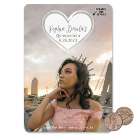 Lovestruck Quinceanera 1 Scratch Off Save The Date Magnet