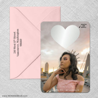 Lovestruck Quinceanera 4 Scratch Off Save The Date With Optional Color Envelope