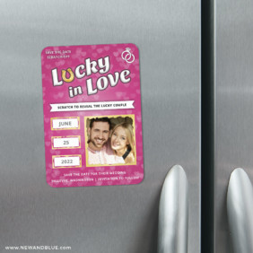 Lucky In Love Pink 3 Scratch Off Refrigerator Save The Date Magnets