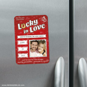 Lucky In Love Red 3 Scratch Off Refrigerator Save The Date Magnets
