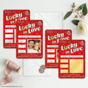 Lucky In Love Red 3 Scratch Off Save The Date Magnet With Envelope