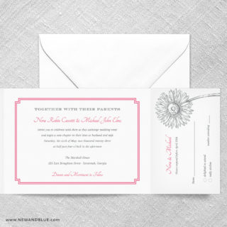 Lucy All In One Wedding Invitation With RSVP Postcard