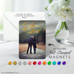 Luminous Love 7 Foil Wedding Save The Date Magnet