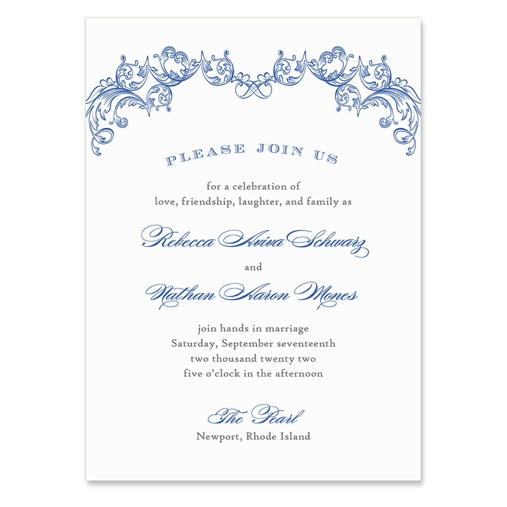 Marthas Vineyard Invitation Shown In Color Blue