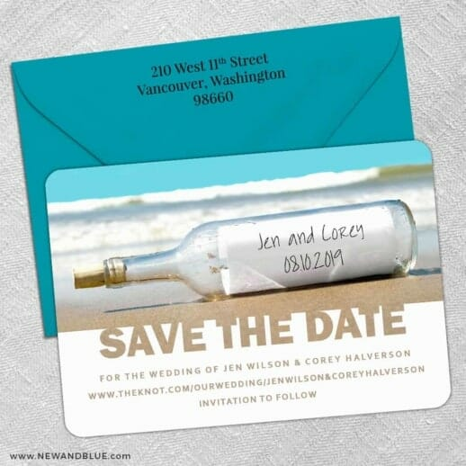 Message In A Bottle 5 Save The Date With Optional Color Envelope