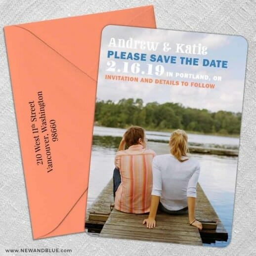 Mirror Lake 5 Save The Date With Optional Color Envelope