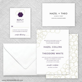 Mod Geo 5 Wedding Invitation And Rsvp Card