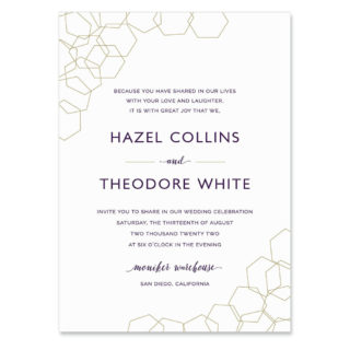 Mod Geo Invitation Shown In Color Purple