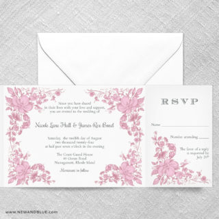 Newburyport All In One Wedding Invitation With RSVP Postcard