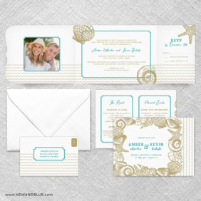 On The Beach All In One Wedding Invitation Suite
