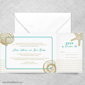 On The Beach All In One Wedding Invitation With RSVP Postcard