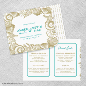 On The Beach Allinone Wedding Invitation Set