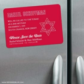 Outlines Bar Mitzvah 3 Refrigerator Save The Date Magnets