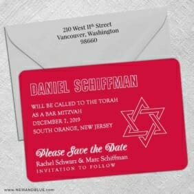 Outlines Bar Mitzvah 5 Save The Date With Optional Color Envelope