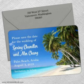 Palm Beach 5 Save The Date With Optional Color Envelope