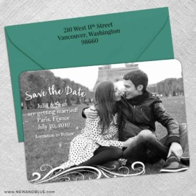 Paris 5 Save The Date With Optional Color Envelope