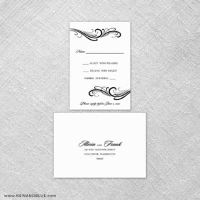 Paris 6 Reception Card And Rsvp Card